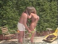 Classic vintage sex-scene with big-tittied blonde MILF and her partner as leading actors