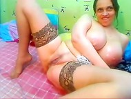 Busty Russian woman is desperate to stimulate her juicy pink pussy till the volcanic orgasm
