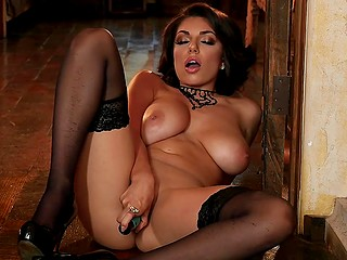 Beauty Darcie Dolce with big natural tits feels amazing sitting on floor and satisfying pussy with vibrator