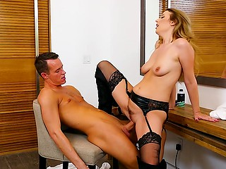 Fellow jerked to hairdresser but she noticed that and offered him to do it right there