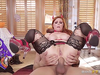 Redhead Penny Pax dressed up like devil on Halloween and spread asshole for BF's friend