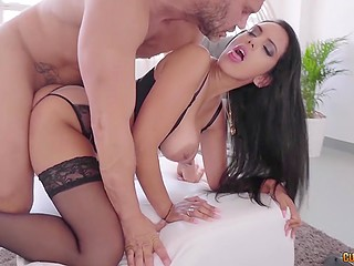 Spanish mate Nacho Vidal fucked big-boobied stunner and even didn't take off her panties