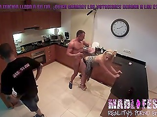 Hidden camera records man fucking blonde girl in kitchen and ignoring people who are around