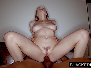 Beautiful white chick films hot encounter in bedroom with black boyfriend on the camera
