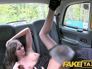 Lithuanian nymphomaniac Tina Kay comes to rainy England for crazy sex with taxi driver