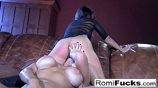 Sweet talk on couch between Romi Rain and her GF soon transformed into dirty lesbian sex