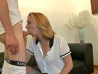 Blonde woman from France gives blowjob to young guy after short but interesting interview