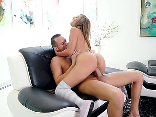 Fellow vigorously stretches beauty's sweet pussy in several positions before loading her mouth with jizz