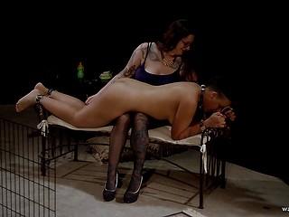 Развратница выпустила чёрную девчонку из клетки и отшлёпала перед добротным куником в подвале