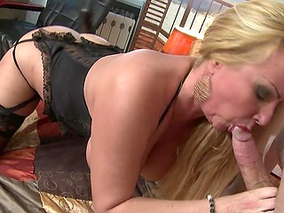 Mature blonde with huge tits rides mighty cock until guy wants to cum on her tongue