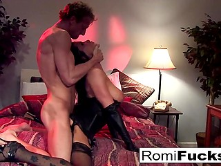 Ardent brunette Romi Rain together with handsome inamorato spend nice time in bedroom