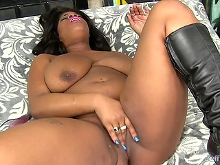Ebony BBW beauty with huge natural boobs shows white cameraman how she loves to masturbate