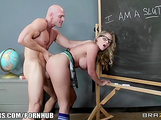 Big-tittied student with blonde hair takes private lessons from bald-headed teacher