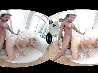 In amazing VR clip, beautiful chick finally realizes her wish to have sex with Ebony fellow