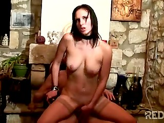 Seductive sweetie with black collar and pretty face has great anal sex in French video