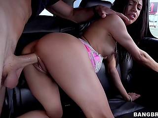 Lovelace convinced pretty Latina to fuck in car and didn't miss the chance to visit her place