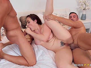 Boys are so brutal that pornstar Chanel Preston can't resist their cocks and get double penetrated