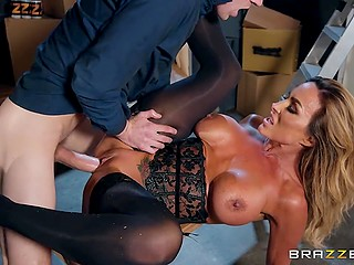 Interesting MILF in sexy lingerie is so happy when she is serving carnal urges of Danny D