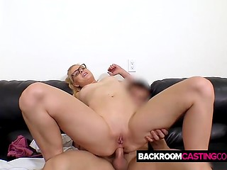 Anal sex at audition culminates for innocent bookworm with cumshot straight in her greedy mouth