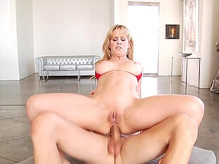Blonde bombshell Cherie DeVille roughly analyzed by aroused director with impressive fuckstick