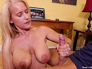 Sweetie with big boobs takes shirt with low neckline off and makes stepson cum with her hands