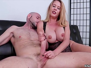 Blonde MILF Grace Evangeline gives bald friend amazing handjob after he returns from shower