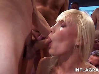 Luxurious Euro blonde Laureen Pink takes part in unstoppable group fuck with various excited guys