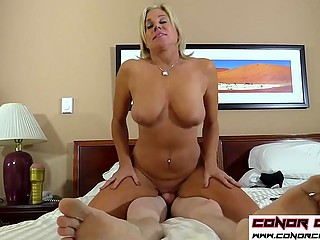 Blonde woman catches long-haired boy jerking off and decides to let him use her vagina