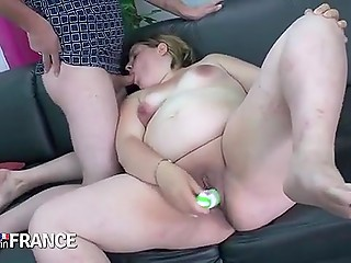 Excited BBW servant with great curves allowed master to nail her moist muff and shove toy in bottom