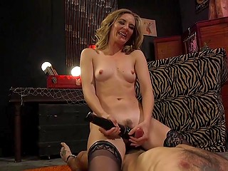 Female makes obedient slave lick sweet pussy and then wears strapon to fuck his unprepared ass