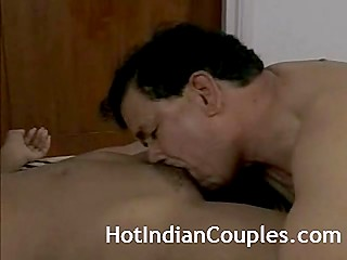 Mature guy brings good-looking Indian girl in his hotel room for unhurried and amazing sex