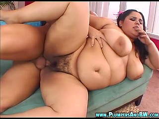 Overweight of pleasant Latina girl makes bald Goliath want fuck her even more