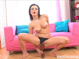 Pussy fingering isn't able to satisfy lovely with nice titties and she brings big dildo into play