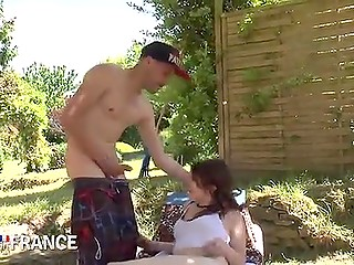 Skinny girl gets off on sucking gardener's penis because she is addicted to giving blowjob