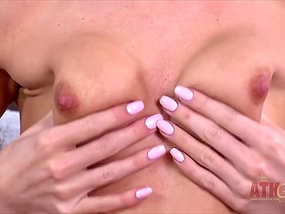 Female with no tits is slut inside and tempts random cameraman getting naked on camera
