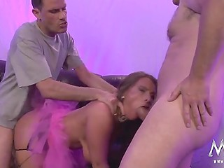 German porn video where each man has the opportunity to fuck slut with a rhinestone choker and cum on her face
