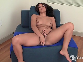 Salacious girl ain't going anywhere, she just takes clothes off and starts masturbation