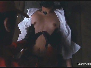 Sexy Asian Jeong Si-ah can't move because of fear when girlfriend is drilled next to her