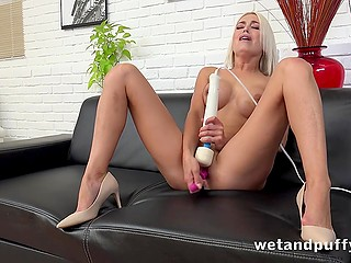 Platinum blonde beauty with round breasts hopes to reach orgasm using dildo and powerful vibrator