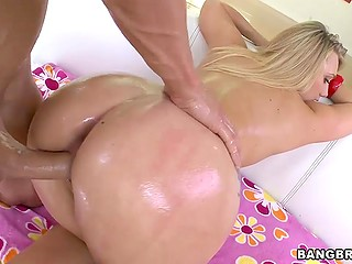 Fellow's long phallus nicely slides deep into succulent asshole of stunning blonde AJ Applegate
