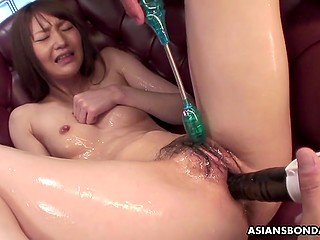 No breakfast in bed for skinny Asian with hairy pussy, just masturbation and never-ending orgasms