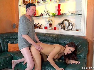 Female is old enough and ready to get a fucking lesson from stepfather who is pretty skillful at sex