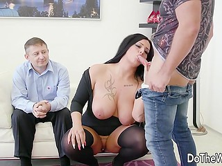 Stunning brunette Ashley CumStar sucks and rides stranger's dick next to her cuckold husband