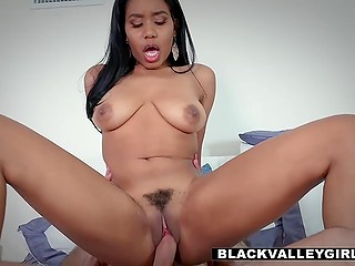 Rich Ebony chick Jenna Foxx invited white boy for sneaky sex behind back of her strict father