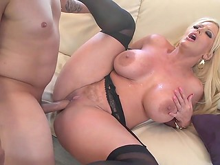Super busty blonde beauty Alura Jenson in black stockings enjoys pussyfucking to the maximum