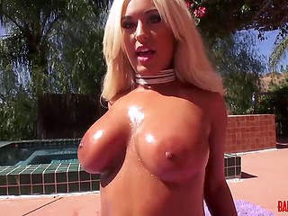 Stunning hot blonde Brandi Bae demonstrates awesome tanned buttocks in front of Mick Blue