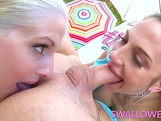 Busty sluts Christie Stevens and Jaclyn Taylor perform cum swap after deepthroat blowjob and rimming