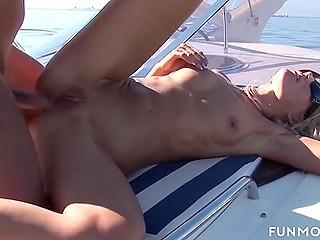 Super-sensitive babes reach orgasms together with guys drilling pussies and cumming over their faces