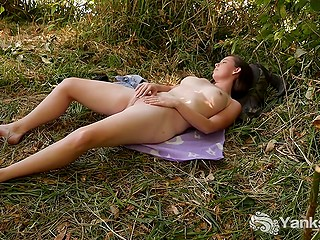 Alone gal with great tits finds hidden spot in the forest perfect to massage her bald cunny