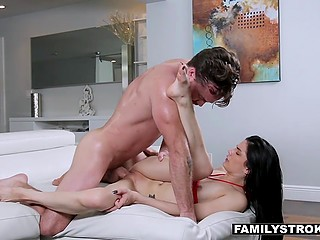 Woman leaves the house and dark-haired chick has the chance to be fucked by stepbrother